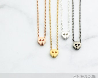 Tiny Skull Necklace N18 • Dainty Layering Necklace, Delicate Charm, Skeleton, Cute Skull, 14k Gold Fill, Rose Gold Fill, Sterling Silver