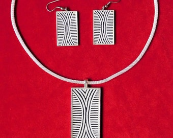 Necklace and Earring Set - African Elements Series: Tribal Shield Pendant Set
