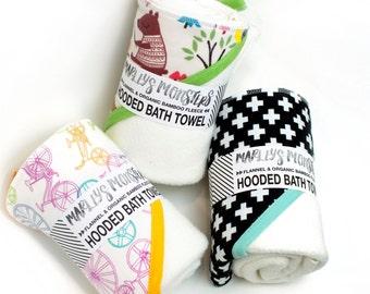 HOODED BATH TOWEL. Organic bamboo & flannel. You choose prints
