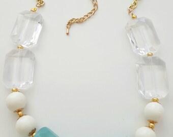 Chunky Blue Acrylic Necklace