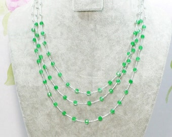 Green Stone Multi Strand Necklace by Silk Thread