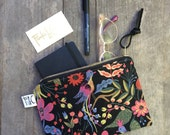 Black Floral Linen Zipper Pouch, Floral Small Bag, Holiday Gift, Leather Pull, Floral Travel Pouch, Passport Case, Rifle Paper Co Fabric
