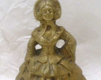 Antique French Brass Dinner Bell / Marked Depose / Victorian Dressed Woman