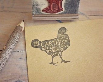 Chicken Return Address Stamp - Rustic Address Stamp - Rubber Stamp