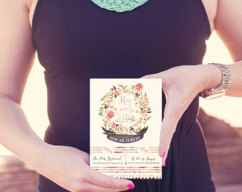 Bohemian Floral Bridal Shower Invitations for a Rustic Wedding