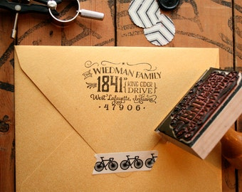 Cutest little vintage-inspired return address stamp in the whole world - Custom Typography Rubber Stamp