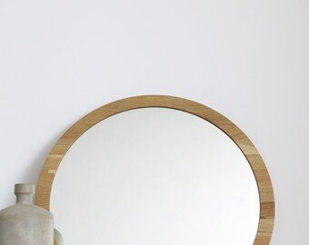 Large Round Mirror Branches Cross Stitch Mirror