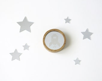 Small round wooden mirror // Nursery decor //  Cross stitch mirror // Decorative mirror // Rustic  mirror // Rocket // Nursery decor