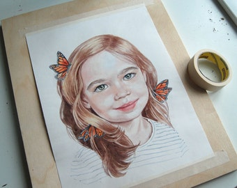 Custom Children Watercolour Portrait Commission Painting From Your Photo