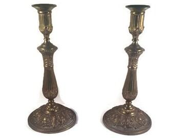 Vintage Brass Candle Holders - 11 Inch Art Nouveau Style Brass Candle Holders