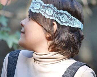 Mint lace headband, boho headband, lace  bohemian headband,  baby headband, vintage headband, lace headwrap,  baby head wraps, girl birthday