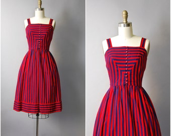 1970's Lanz Originals Red and Navy Stripe Dress • small
