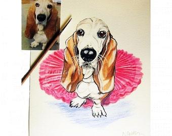 Custom Watercolor Pet Portrait, Original Pet Art, Dog Painting, Pet Memorial, Pet Lovers Gift, Personalized Wall Art, Gift For Her, 8 x 10