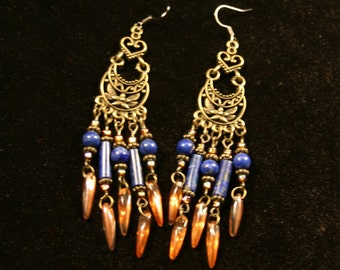 Steampunk/Victorian Lapis Earrings