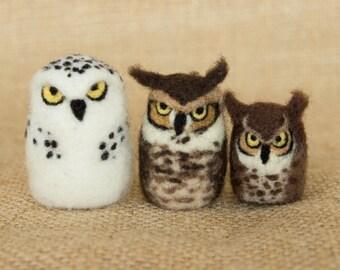 Mini Owls Set of Three: Needle felted animal sculptures