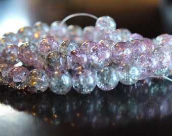 80 approx. light gray and lavendar, 10 mm crackle glass beads, 1.5 mm hole, round and smooth, light reflective