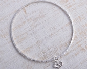 Sterling silver infinity heart bangle square hammered handmade 925 bangle stacking