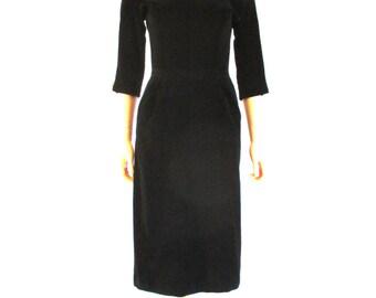 "1950s Jane Andre Black Velveteen Scoop Neck Wiggle Dress 26""W"
