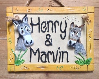 Horse Stable Stall Sign, Personalised Name Plaque for Horses and Donkeys, Ceramic plaque for two donkeys