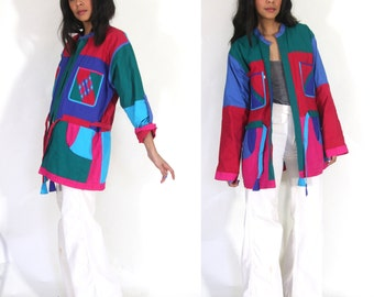 Vintage 80s Avant Garde Wearable Art Patchwork Quilt Reversible Colorblock Jacket Hippie