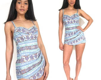 Vintage 50s Blue Cole of California One Piece Swimsuit Bathing Suit Glam Bombshell