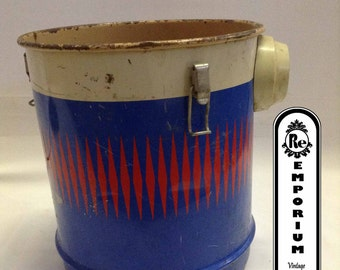 Vintage Shop Vac  Metal Cans Red White & Blue Decorative Repurposed Table No. 2