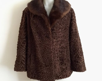 Amazing 1950s 'K. Feitel' chocolate Persian lamb fur jacket with mink shawl collar and front pockets