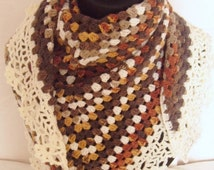 ON SALE Crocheted Triangle Lace Edge Shawl
