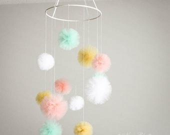 Tulle Mobile, Nursery Mobile, Baby Mobile, Nursery Decor, Baby Shower Gift, Pom Pom Mobile, Custom Colors, Hanging Pom Poms, Baby Room Decor