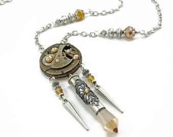 watch movement necklace, steampunk jewelry N432