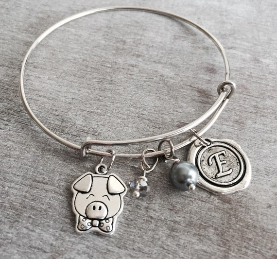 Silver Charm Bracelet Pig Jewelry Pig Gift Pig Bangle By