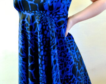 Blue Geometric Print Peter Pan Collared Dress (UK 8/10)