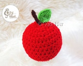 Newborn Apple Hat. Made to Order. Hand crocheted Hat for Newborns and Babies. Apple photo prop.