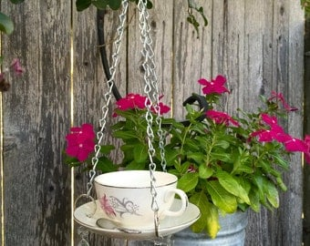 tea cup bird feeder , handcrafted, upcycled