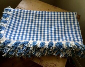 Antique Indigo and Natural Homespun Linen Coverlet