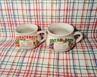 Pair of Vintage Soup Recipe Mug - Tomato and Onion Soup Bowls with Handles