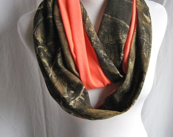 """Hunter's Orange Camo Scarf - 60"""" or 70"""" long Realtree Hunting Camouflage Taupe Black White PInk Orange Jersey Knit Infinity Scarf - USA Made"""