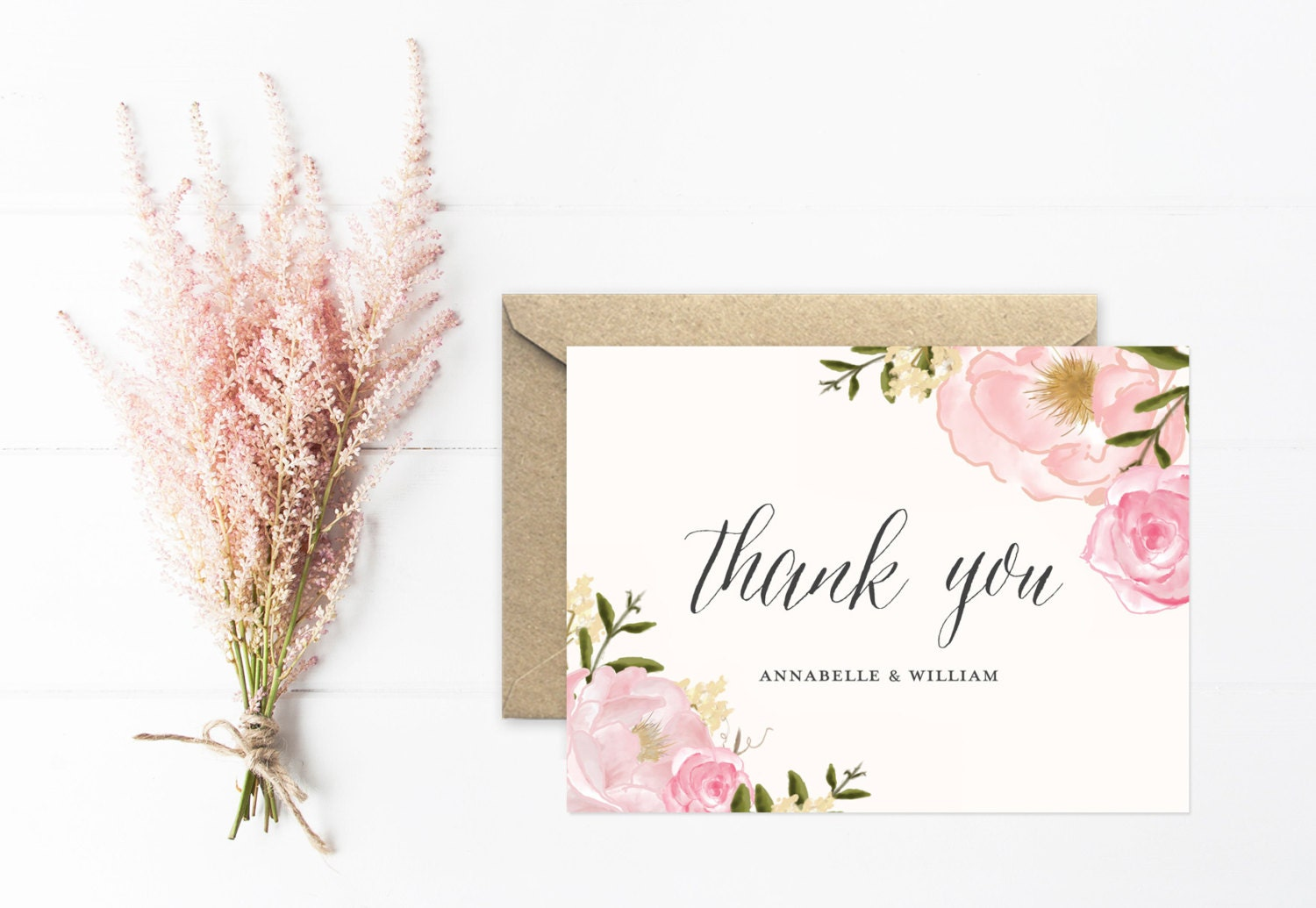 thank you card personalized wedding thank you by mooseberrypaperco