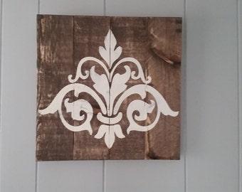 Fleur de lis / scroll wall art