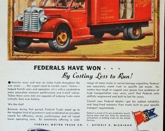 1946 ad Federal Motor Semi Truck,  Pfeiffers Work Vehicle Vintage Print Ad