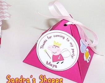 10 Peppa Pig Party Favors box, Peppa pig lembrancinha, Peppa pig birthday party, peppa pig decoration, peppa pig triangle box