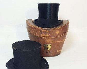 Victorian Beaver and Collapsible Top Hats with Leather Case