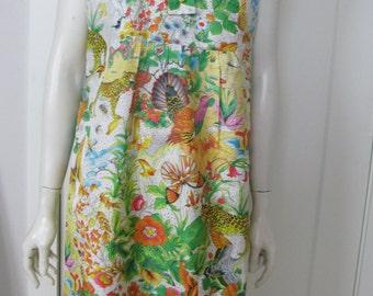 Vintage 70's Sleeveless Animals in the Garden Dress Size Medium