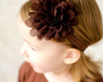 Brown Headband, Fall Headband, Toddler Headband, Brown Flower Headband, Baby Headband, Newborn Headband, Thanksgiving Headband