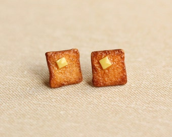 Miniature Toast Earrings, Polymer Clay Earrings, Miniature Food Jewelry, Toast Earrings