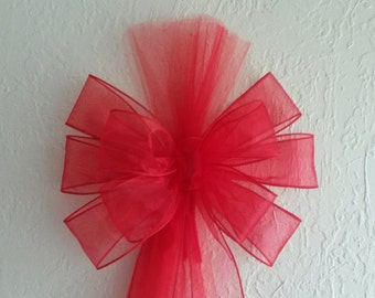 Sheer Red Pew Bow With Tulle, Wedding Pew Bow,  Valentine Wedding Bow, Bridal Shower Bow, Church Pew Decor,