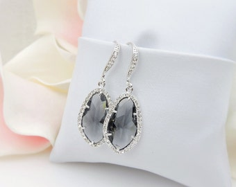 FREE US Ship Charcoal Oblong Diamond Shaped Cubic Zirconia Bridal Earrings Unique CZ Bridal Earrings Cz Bridesmaid Earrings Bridesmaid Gift