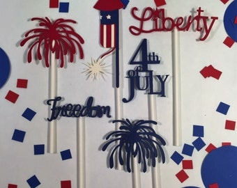July 4th cupcake toppers, 12 pc,fourth of july, red white and blue, patriotic cupcake toppers, liberty, freedom, fireworks and rockets