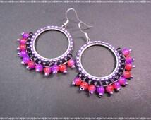 Boho Ohrringe Japanische Rocailles Toho seed beads Glasperlen Lila Rot Flieder