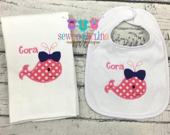 Baby girl whale etsy nautical whale burp cloth bib set baby girl whale gift set personalized baby gift negle Gallery